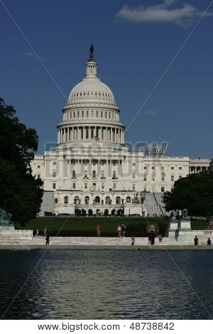 WASHINGTON, DC - JULY 29: The U.S. Capitol is shown on July 29, 2013 in Washington, D.C.  The U.S. Capitol is the meeting place of the U.S. Congress, the legislature of the U.S. federal government.