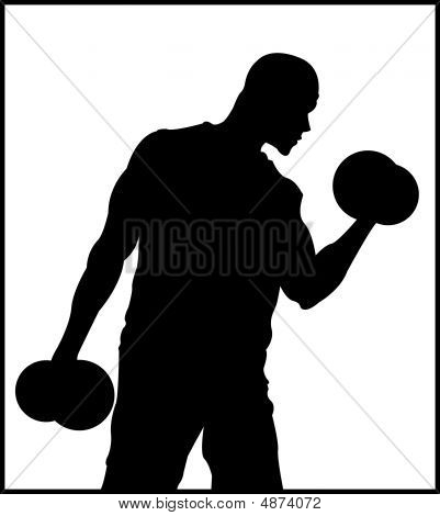 A male weight lifter who is very strong. which is a vector and artistic poster