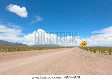Road with warning sign
