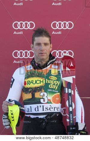 VAL D'ISERE FRANCE. 12-12-2010. Benny Raich (AUT) 2nd at the presentation ceremony for the alpine skiing world cup slalom race on the Bellevarde race piste Val D'Isere.