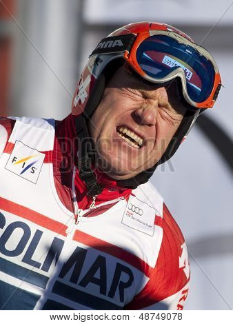 VAL D'ISERE FRANCE. 11-12-2010.Didier Cuche (SUI) in anquish after damaging his back during the FIS alpine skiing world cup giant slalom race on the Bellevarde race piste Val D'Isere.