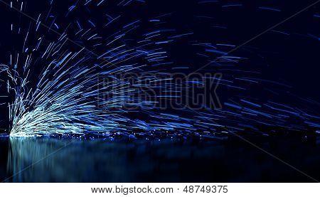 Blue Flowing Sparks