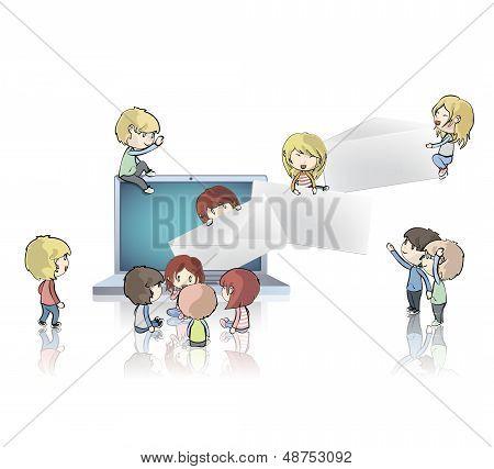 Kids Around Laptop Sending Envelopes. Vector Design