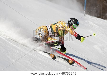 VAL D'ISERE FRANCE. 12-12-2010. SPENCE Brad CAN attacks a control gate during the FIS alpine skiing world cup slalom race on the Bellevarde race piste Val D'Isere.