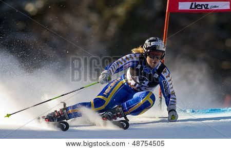 LIENZ, AUSTRIA 28 December 2009. Anja Paerson SWE speeds down the course while competing in the first run of the women's Audi FIS Alpine Skiing World Cup giant slalom race.