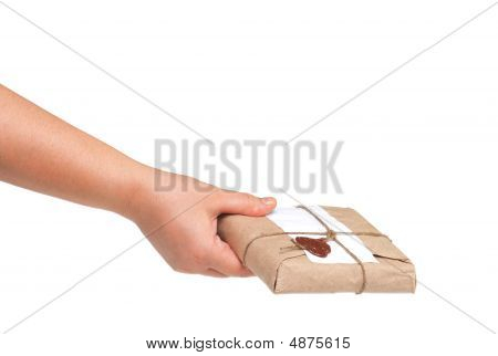 Delivery Hand With Parcel Isolated On White