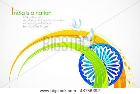 illustration of wave of Indian flag tricolor with Ashok Chakra poster