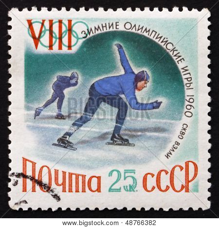 Postage Stamp Russia 1960 Speed Skating, Sports, Squaw V