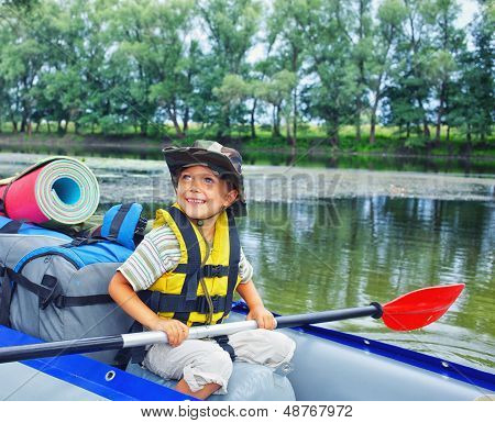 boy kayaking
