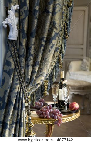 Luxurious Curtain From Woollen Cloth With Tassel. Blue And Gold