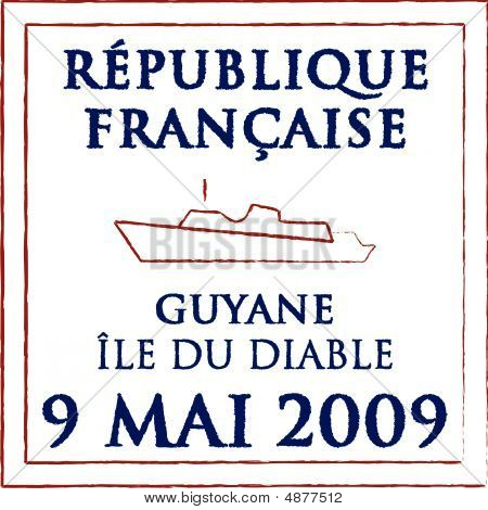 Passport stamp of Devils Island French Guiana created by me for my personal collection poster