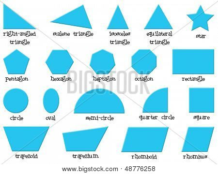 Illustration of the different shapes on a white background  poster