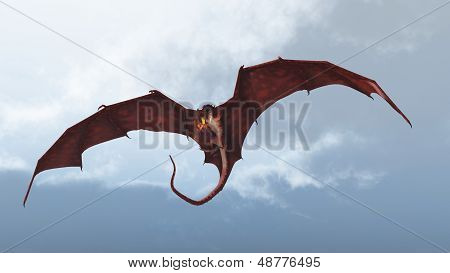 poster of Red fire breathing dragon flying in to attack from a cloudy sky, 3d digitally rendered illustration
