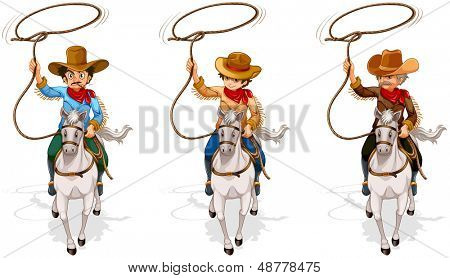 Illustration of the two old and one young cowboys on a white background