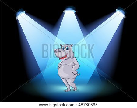 Illustration of a stage with a hippopotamus standing in the middle