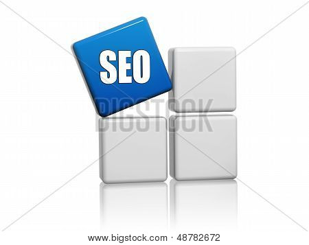 Blue Cube With Letters Seo On Boxes