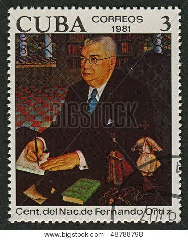 CUBA - CIRCA 1981: A stamp printed in Cuba shows image of the Fernando Ortiz Fernandez was a Cuban essayist, anthropologist, ethnomusicologist and scholar of Afro-Cuban culture, circa 1981.