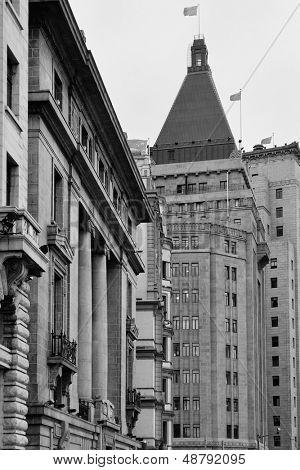 Old buildings in Waitan of Shanghai in black and white