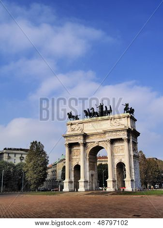 Milano - famous monument The Arch of Peace in Milan Lombardy Italy poster