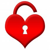 Heart shape with keyhole and unlocked lock poster