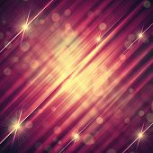 abstract pink violet background with shining yellow lines and stars poster