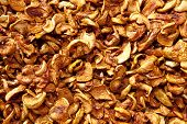Background of dried slices apples, vegetarian food poster