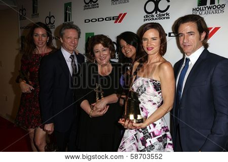 Julianne Nicholson, Chris Cooper, Margo Martindale, Misty Upham, Juliette Lewis and Dermot Mulroney at the 17th Annual Hollywood Film Awards Backstage, Beverly Hilton Hotel, Beverly Hills, CA 10-21-13