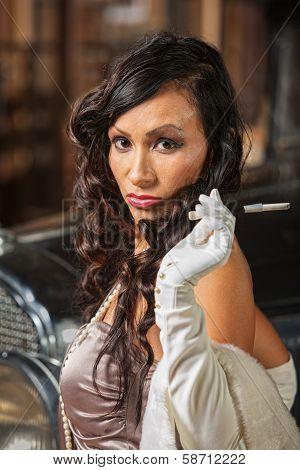 Sulky Retro Woman With Cigarette