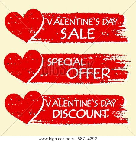 valentines day sale and discount special offer - text with hearts in three red drawn banners poster