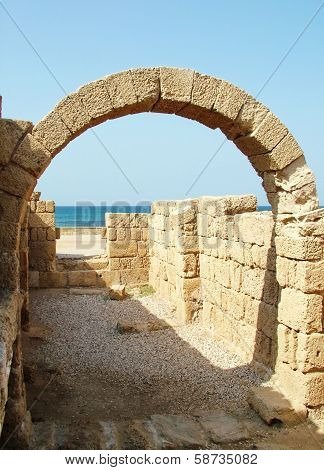 Ancient Arch. The ruins of the ancient Caesarea. Israel poster