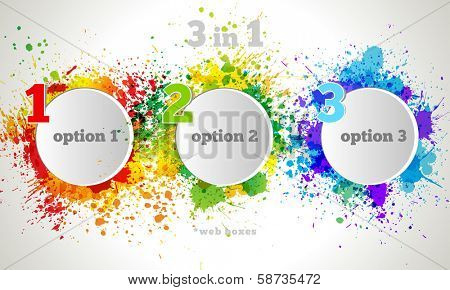 Vector Graphic Design Button and Labels Template. Color paint splashes gradient option banners
