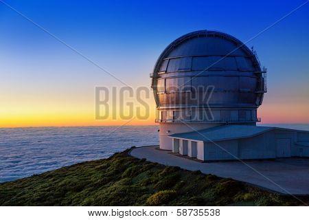 LA PALMA, CANARY ISLANDS, SPAIN - JULY 11, 2012: GTC Gran Telescopio de Canarias at sunset in ORM observatory at Roque de los Muchachos in La Palma, Canary, Spain, July 11, 2012
