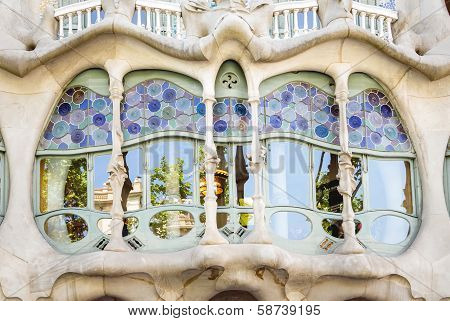 Modernist Casa Batllo facade, in Barcelona, Spain
