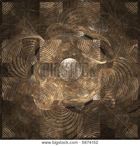 Abstract elegance background. Gold - black palette. Raster fractal graphics. poster