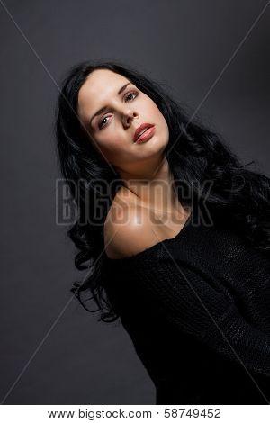 Dark Moody Portrait Of A Brunette Beauty