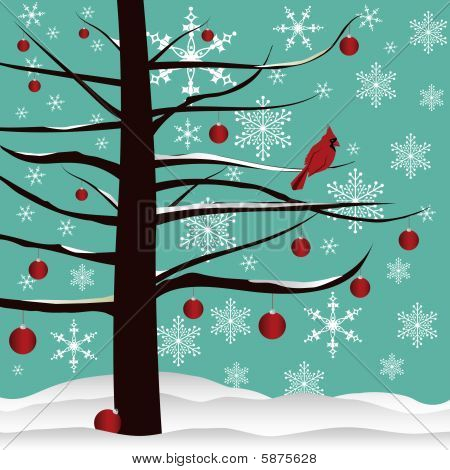 Christmas Tree and Red Cardinal Background