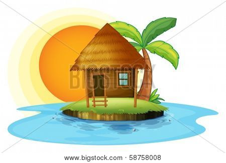 Illustration of an island with a small hut on a white background