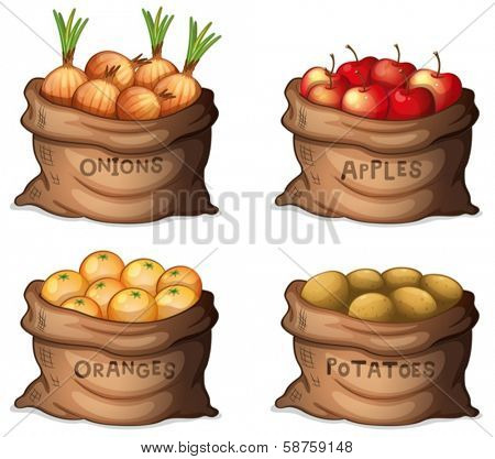 Illustration of the sacks of fruits and crops on a white background