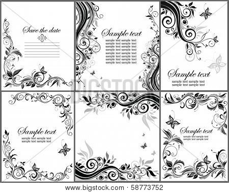 Set of floral banner (black and white)