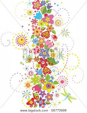 Abstract seamless floral border