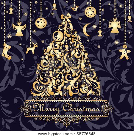 Christmas card with gold xmas tree