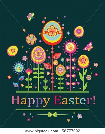 Abstract easter postcard poster