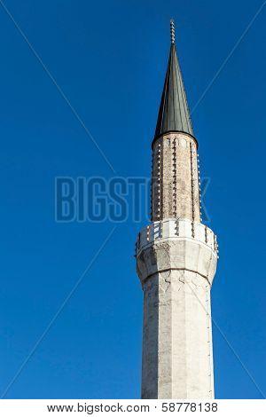 The Gazi Husrev-beg Mosque Minaret in Sarajevo, Bosnia and Herzegovina. poster