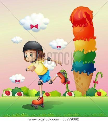 Illustration of a girl rollerskating at the candyland