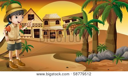 Illustration of a young girl at the desert standing near the palm trees