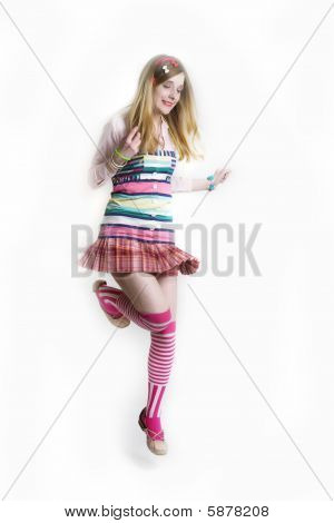 a Jumping pretty  girl in colorful dress poster