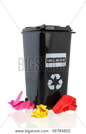 black trash container for paper documents for recycling