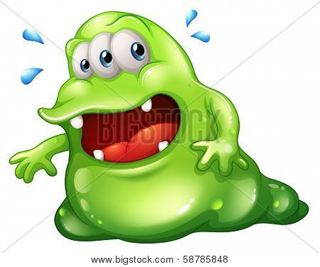 Illustration of a greenslime monster escaping on a white background