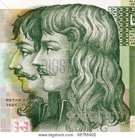 CROATIA - CIRCA 2001: Petar Zrinski (1621-1671) and Fran Krsto Frankopan (1643-1771) on 5 Kuna 2001 Banknote from Croatia.