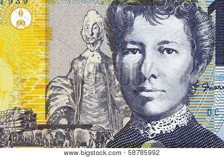 AUSTRALIA - CIRCA 2007: Mary Gilmore (1865-1962) on 10 Dollars 2007 Banknote from Australia. Australian socialist poet and journalist.